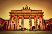 Brandenburg Gate. German Brandenburger Tor in Berlin, Germany at sunset