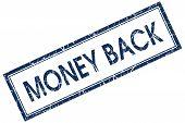 Money Back Blue Square Stamp