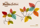 Hello Autumn Text. Tree Branch With Leaves Background. Eps10 File.