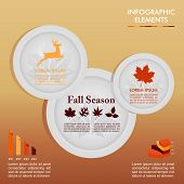 Fall Season Infographic Plates Autumn Graphics Template. Eps10 File.