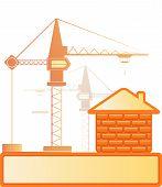 brick house and construction crane