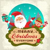 stock photo of christmas claus  - Retro Christmas background with Santa claus and Christmas elf - JPG