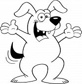 Cartoon dog with extended arms