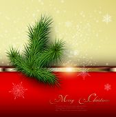 Christmas background with snowflakes and christmas tree, vector.