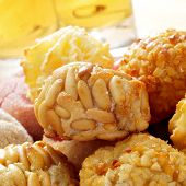 a pile of panellets, typical pastries of Catalonia, Spain, eaten in All Saints Day
