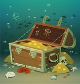 Treasure chest at the bottom of the sea. Vector illustration.