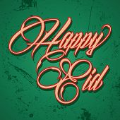 picture of kaba  - Retro calligraphy of text happy eid  - JPG