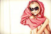 stock photo of pink eyes  - Charming blonde girl in sunglasses - JPG