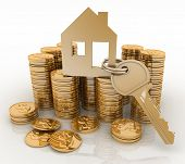 stock photo of house rent  - 3d house symbol with key on Pile of gold coins - JPG