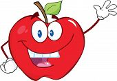 Smiling Apple Cartoon Character Waving For Greeting