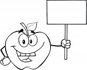 Black And White Apple Character Holding Up A Blank Sign