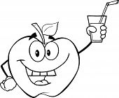 Black And White Apple Character Holding A Glass With Drink