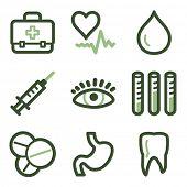 Medicine icons set 1, green line contour series