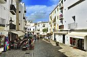IBIZA, SPAIN - SEPTEMBER 21: Pedestrian street in old town on September 21, 2012 in Ibiza Town, Bale