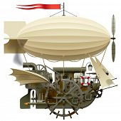 Isolated raster version of vector image of the complex fantastic flying ship with machinery, dirigible, sail, wings, water-wheel, spyglass and other equipment (contain the Clipping Path)