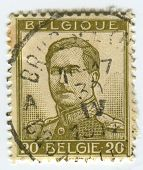 BELGIUM - CIRCA 1912: A stamp printed in Belgium shows image of the Albert I (April 8, 1875 - Februa