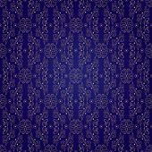 Floral Vintage Seamless Pattern On Violet Background