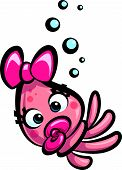 image of squid  - Happy cartoon baby cute girl squid with pacifier - JPG