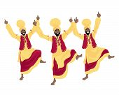 pic of punjabi  - an illustration of three punjabi men performing a bhangra dance in colorful red and yellow traditional dress on a white background - JPG