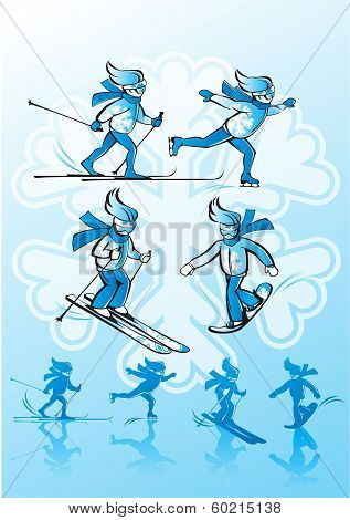 Image of winter sports. Alpine skiing, cross-country skiing, sno