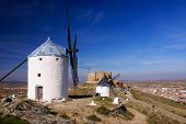 Cervantes Don Quixote Windmills And Consuegra Castle. Castile La Mancha, Spain