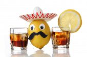 foto of pinata  - Tequila glass and Mexican toys of vegetables - JPG