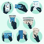 Icon set with Hands holding credit card, smartphone, money