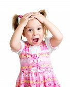 image of little kids  - Little girl kid surprised with hands on her head isolated on white background - JPG