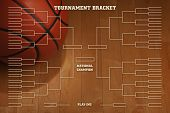 stock photo of basketball  - Basketball tournament bracket over image of ball with spot lighting on wood gym floor - JPG