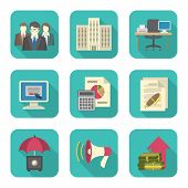 stock photo of enterprise  - Set of modern flat icons suitable for theme of business costs - JPG