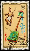 MONGOLIA - CIRCA 1986: A stamp printed in MONGOLIA shows Morin khuur, from series Folk musical instr