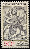 CZECHOSLOVAKIA - CIRCA 1982: A stamp printed in Czechoslovakia shows musician, by Jacques Callot (15