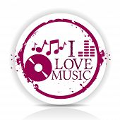 sticker i love music