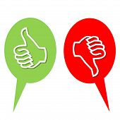 stock photo of dislike  - Colorful like and dislike vote icons in white background - JPG