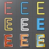 Set Of Neon Style Alphabet E, Eps 10 Vector, Editable For Any Background, No Clipping Masks