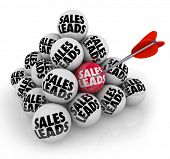 Sales Leads Ball Pyramid New Customers Business Opportunity