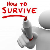 stock photo of survival  - How to Survive Words Advice Instructions Survival Tips - JPG