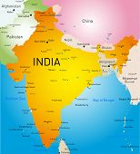 Vector detailed map of India country