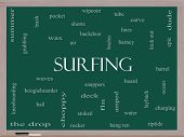 Surfing Word Cloud Concept On A Blackboard