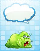 Illustration of a tired three-eyed green monster with an empty callout