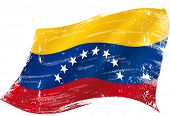 flag of  Venezuela in the wind with a texture