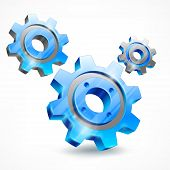 Blue Three Gears On White