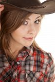 Cowgirl Hat Plaid Shirt Close Looking
