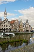 Graslei embankment in old town , Ghent