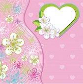Design For Wedding Template.spring Flowers,line ,heart Background