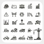 stock photo of bulldozer  - Construction icons set isolated on white background - JPG