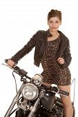 Woman Leopard Dress Jacket Stand On Motorcycle Look