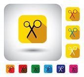 Scissors Sign On Button - Flat Design Vector Icon
