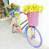 Artificial Flowers And Antique Bicycle For Decoration , Vintage Style