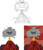 Evil Black Cloud Over Erupting Volcano. Set Collection